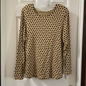 By Chico's Tan/Black Polka Dot Scoop Neck LS Top 2